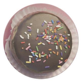 El postre hecho en casa del chocolate con asperja plato de comida