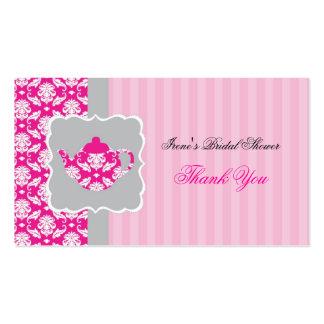El pote del té (rosa/gris) le agradece marcar con  tarjetas de negocios