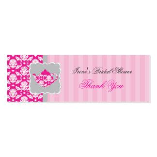 El pote del té (rosa/gris) le agradece marcar con tarjetas de visita mini