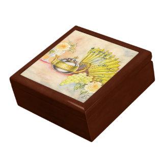 El pote del té y la fan caja de regalo