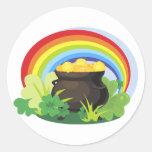 El Pote-o-Oro de St Patrick Etiqueta Redonda
