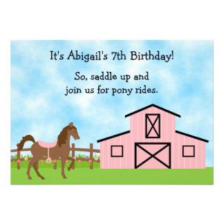 El potro lindo monta la invitación del cumpleaños