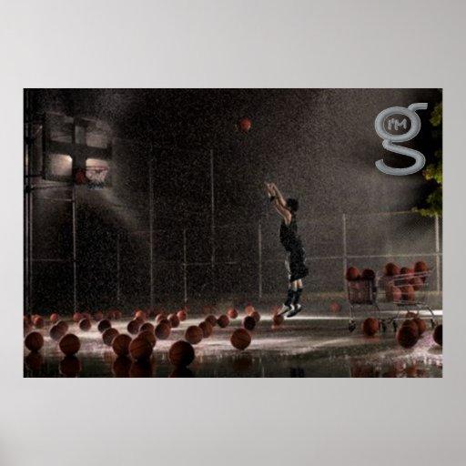 El practicar en la lluvia - poster del baloncesto