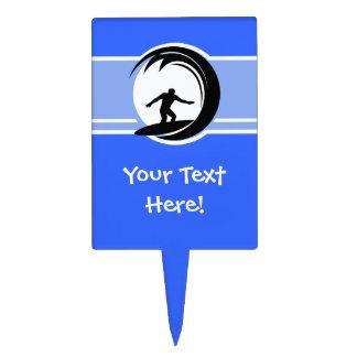 El practicar surf; Azul Figuras Para Tartas