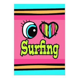 """El practicar surf brillante del amor del corazón I Invitación 5"""" X 7"""""""