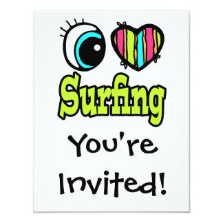 """El practicar surf brillante del amor del corazón I Invitación 4.25"""" X 5.5"""""""