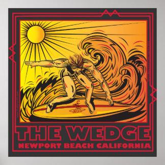 EL PRACTICAR SURF DE CALIFORNIA DE LA PLAYA DE NEW PÓSTER