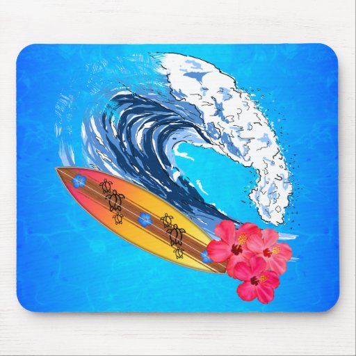 El practicar surf de Hawaii Alfombrillas De Ratón