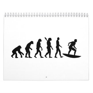 El practicar surf de la evolución calendario