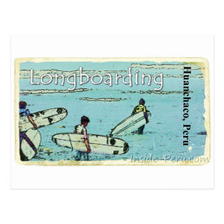 El practicar surf de Longboarding Huanchaco Perú Postal