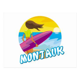 El practicar surf de Montauk Tarjetas Postales