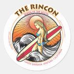 EL PRACTICAR SURF DE RINCON CALIFORNIA ETIQUETAS REDONDAS