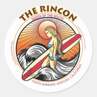 EL PRACTICAR SURF DE RINCON CALIFORNIA PEGATINA REDONDA