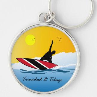 El practicar surf de Trinidad and Tobago Toco Llavero Redondo Plateado