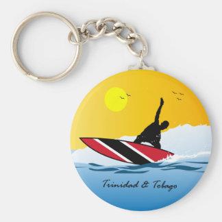 El practicar surf de Trinidad and Tobago Toco Llavero Redondo Tipo Pin