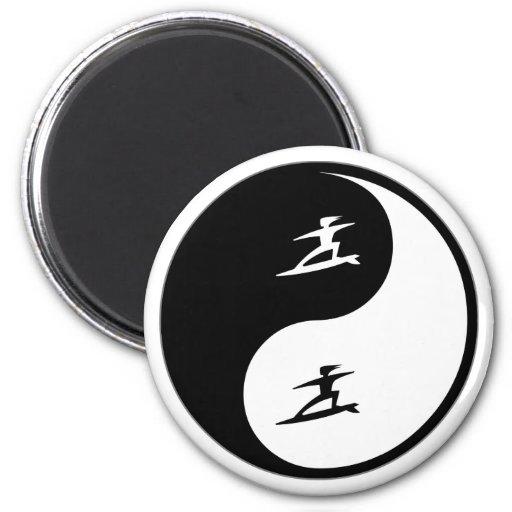 El practicar surf de Yin Yang Imán Para Frigorífico