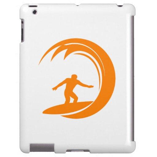El practicar surf del naranja y blanco