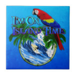 El practicar surf del tiempo de la isla azulejos