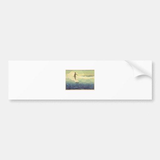 El practicar surf del vintage pegatina de parachoque