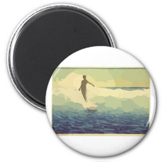 El practicar surf del vintage imán redondo 5 cm