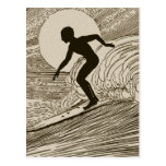 El practicar surf del vintage postal