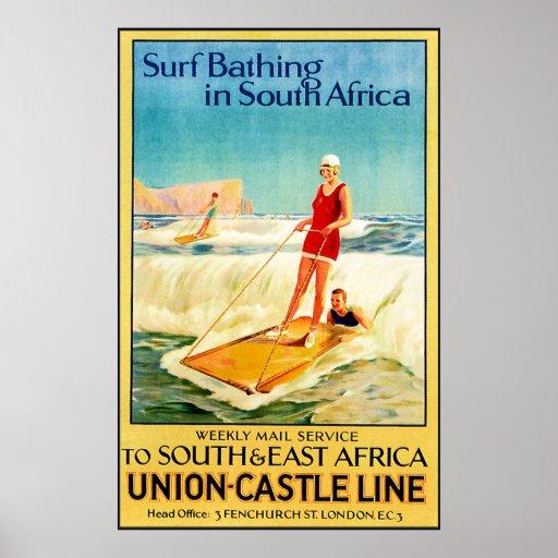 El practicar surf del vintage póster