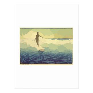 El practicar surf del vintage tarjeta postal