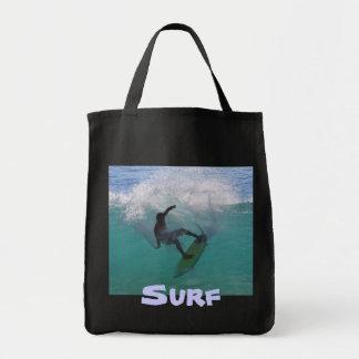 el practicar surf en una onda grande bolsa tela para la compra