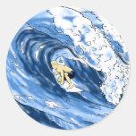 El practicar surf etiquetas redondas