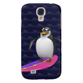 El practicar surf fresco del pingüino 3d