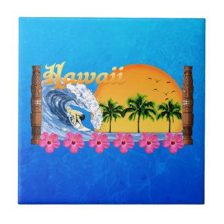 El practicar surf hawaiano azulejo cuadrado pequeño