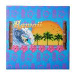 El practicar surf hawaiano azulejos