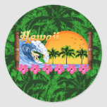 El practicar surf hawaiano etiqueta redonda
