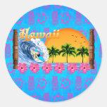 El practicar surf hawaiano pegatina redonda