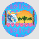 El practicar surf hawaiano pegatinas redondas