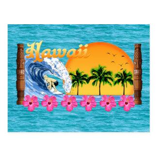 El practicar surf hawaiano postales
