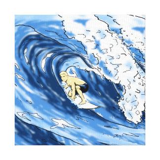 El practicar surf impresión en lienzo
