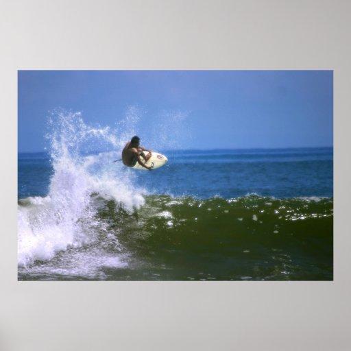 El practicar surf impresiones