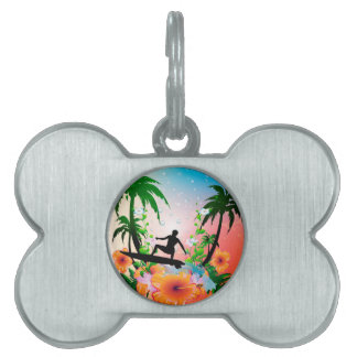 El practicar surf placas de nombre de mascota