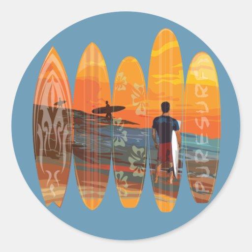 El practicar surf puro etiquetas redondas