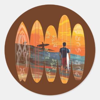 El practicar surf puro pegatina redonda