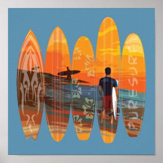 El practicar surf puro póster