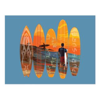 El practicar surf puro tarjeta postal