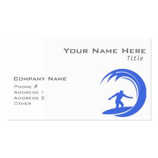 El practicar surf real del azul y blanco tarjetas de visita