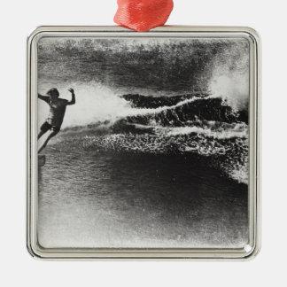 el practicar surf retro adorno navideño cuadrado de metal