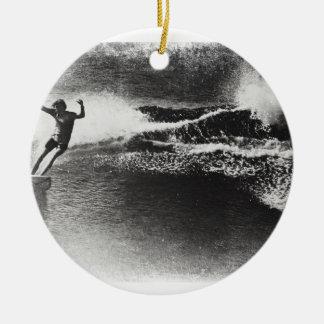 el practicar surf retro adorno navideño redondo de cerámica