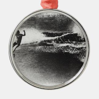 el practicar surf retro adorno navideño redondo de metal