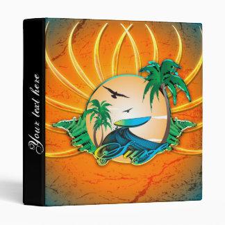"""El practicar surf, tabla hawaiana en un marco carpeta 1"""""""