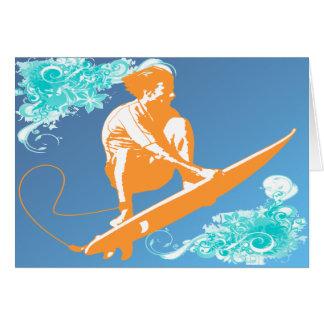 El practicar surf tarjeta de felicitación