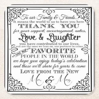 el práctico de costa personalizado del boda del posavasos de cartón cuadrado